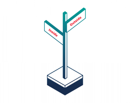 Graphic of a crossroads pointing in 2 marked directions: Inside and outside.