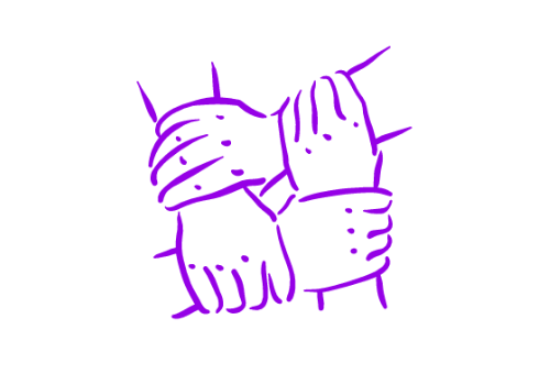 Illustration of 4 hands holding onto each other's wrists, interlocking.